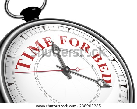 time for bed concept clock isolated on white background - stock vector