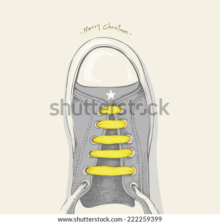 Time for Christmas. Yellow shoelace - stock vector