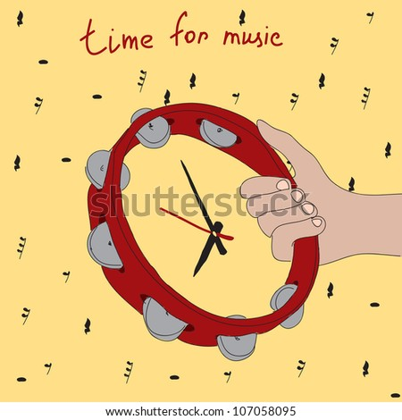 Time for Music! Doodle tambourine clock dial - stock vector