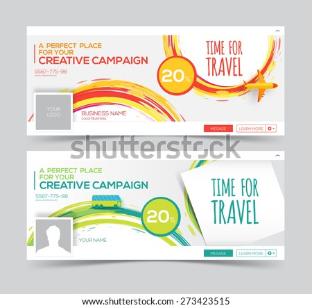 Time for Travel. Colorful vector watercolor Web Banner, Header Layout Template. Creative cover. Web Banner. - stock vector