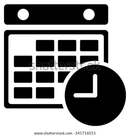 Time Grid vector icon. Style is flat symbol, black color, rounded angles, white background. - stock vector