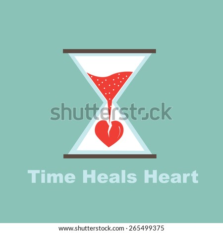 time heals heart concept - stock vector