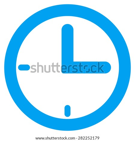 Time icon from Basic Plain Icon Set. Style: flat vector image, blue color, rounded angles, white background. - stock vector