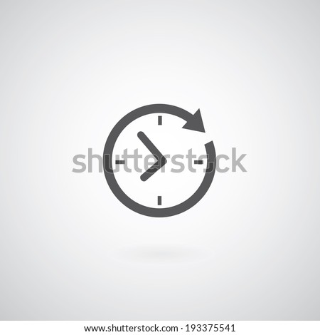 Time icon on gray background  - stock vector