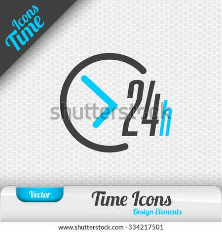 Time icon on the gray background. 24 hours symbol. Vector design elements. - stock vector
