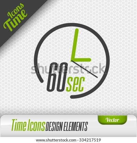 Time icon on the gray background. 60 seconds symbol. Vector design elements. - stock vector