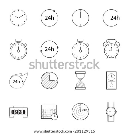 time  icons,line vector