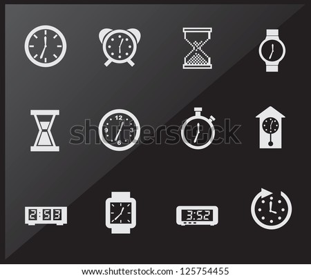 Time icons over black background vector illustration - stock vector