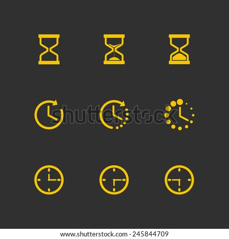 Time icons - Time and Clocks yellow icon set on grey background. Vector illustration EPS10. - stock vector