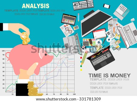 Time is money business concept in modern flat design vector illustration,Concepts for business planning and accounting, analysis, audit, project management.Concepts web banner and printed materials. - stock vector