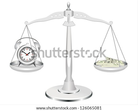 time is money, clock and money on scales - stock vector