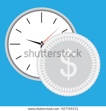 Time is money, clock with silver coin. Dollar money silver and  business and earning. Vector  illustration - stock vector
