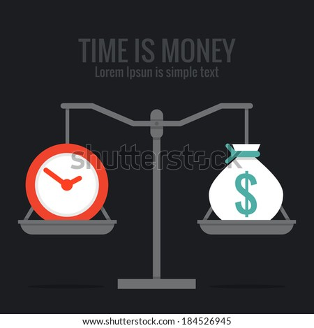 Time is money concept design, vector - stock vector