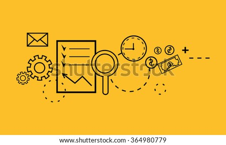 Time is money concept. Finance and business, currency and clock, dollar saving, watch and cash, economic financial, sandwatch and monetary. Time is money tools. Thin line black on yellow - stock vector