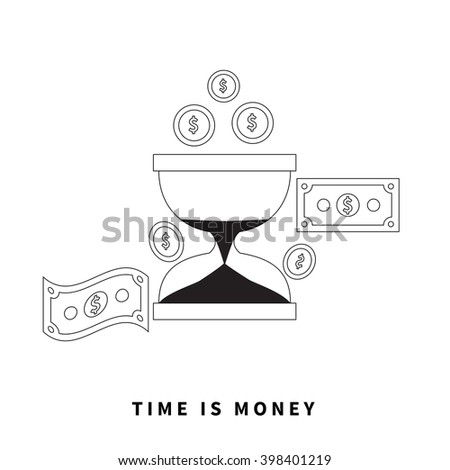 Time is money concept. Hourglass coins. Business currency and clock, dollar saving, watch and cash, sandwatch and monetary. Time management vector illustration. Black thin line on background - stock vector
