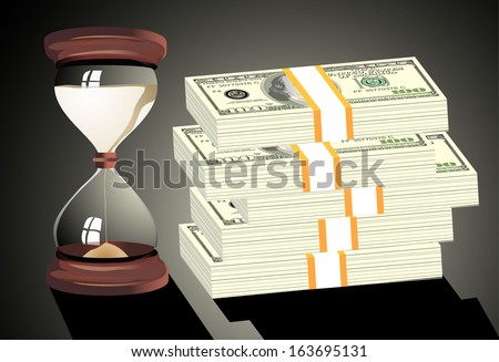 Time is money. Hourglass on hundred-dollar bills - stock vector