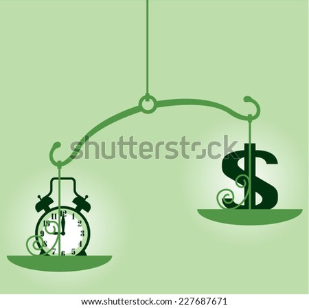 Time Is Money scale - stock vector
