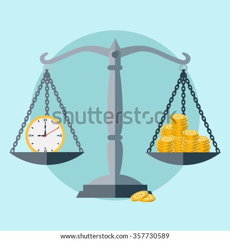 Time is money, scale balance vector concept - stock vector
