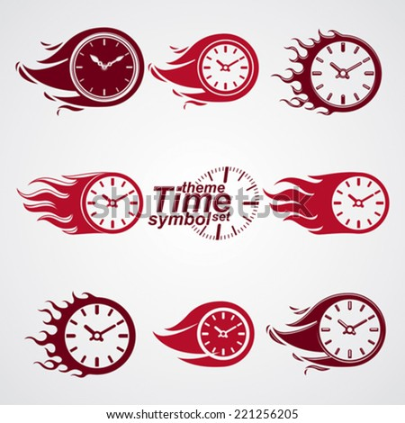 Time is running out concept, vector timers with burning flame. Eps 8 clear vector illustrations. Set of deadline theme stylized illustrations. - stock vector