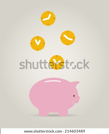time it´s money concept, piggy bank with clocks - stock vector