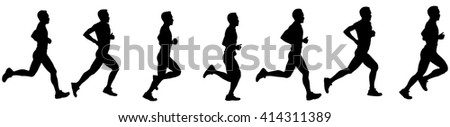 Time-lapse silhouette of a runner in motion, isolated against white.  - stock vector