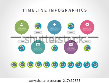 Time line infographic and icons vector design template.  For web design, time line and work flow layout. - stock vector