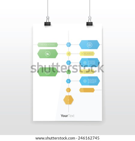 Time Line Playful Style Vector Graph Black and White Composition. A4 Sheet Mock Up in CMYK Color Mode.  - stock vector
