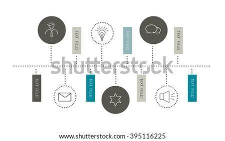 Time line report template. Flat horizontal design. - stock vector