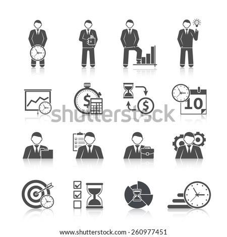 Time management businessman day activity planning strategy black icons set with calendar hourglass abstract isolated vector illustration - stock vector