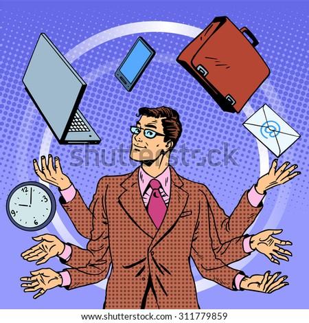 Time management businessman gadgets business concept. Retro style pop art. A man juggles many hands gadgets. Computer technology - stock vector
