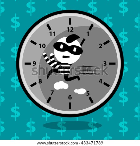 time management cartoon concept stealing time, time control, strategy planning, business management, working hour vector design - stock vector