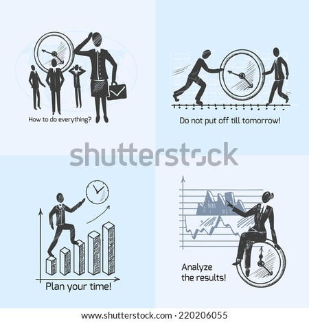 Time management composition sketch icons set with working people isolated vector illustration - stock vector