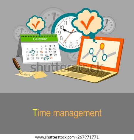 Time management concept. Calendar, watch and laptop. Color flat design illustration - stock vector