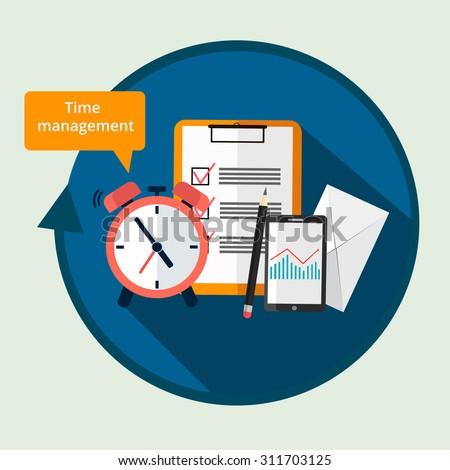 Time Management concept.Clock,to-do list,pencil,phone,envelope. Color flat design illustration - stock vector