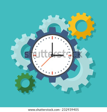 Time management concept. Flat design stylish. Isolated on color background - stock vector