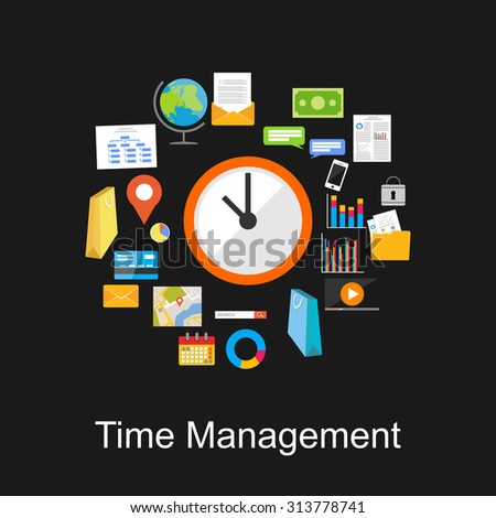 Time management concept illustration.  - stock vector