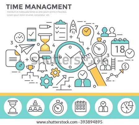 Time management concept illustration, thin line flat design - stock vector