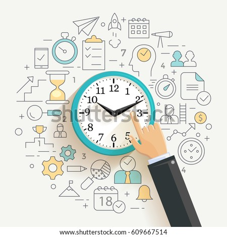time management concept illustration thin line stock vector rh shutterstock com bad time management clipart bad time management clipart