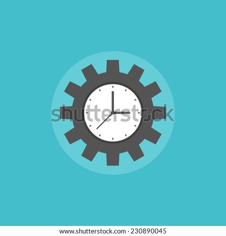 Time management concept symbolizing productive work and success business organization process. Flat icon modern design style vector illustration concept. - stock vector