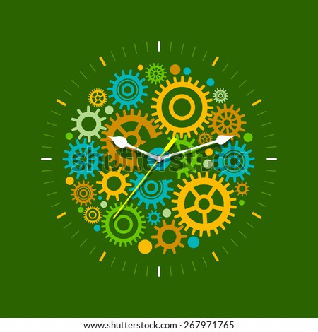 Time management concept with mechanical watches. Flat design illustration in green colors - stock vector