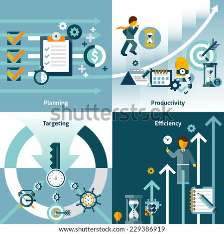 Time management flat icons with planning productivity targeting efficiency isolated vector illustration - stock vector