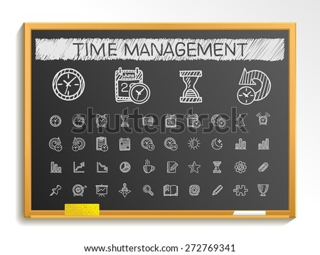 Time management hand drawing line icons. Vector doodle pictogram set: chalk sketch sign illustration on blackboard with hatch symbols: schedule, alarm, event, calendar, graphic, plan, date, bell. - stock vector