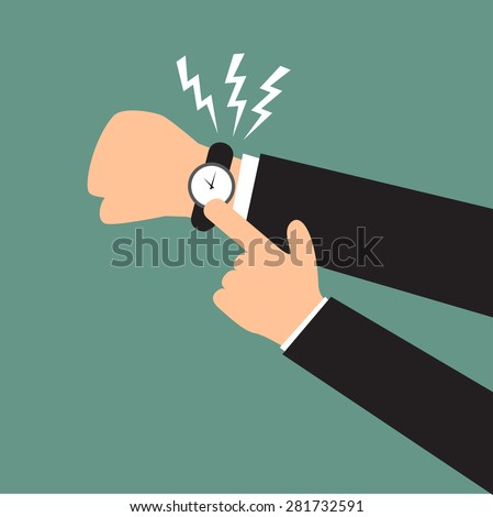 Time management. hand show a deadline. hand boss show a deadline to employee. lazy employee with boss in deadline vector illustration. - stock vector