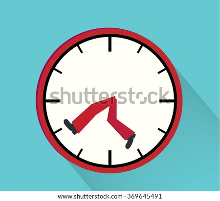 Time management illustration with clock and legs running - stock vector