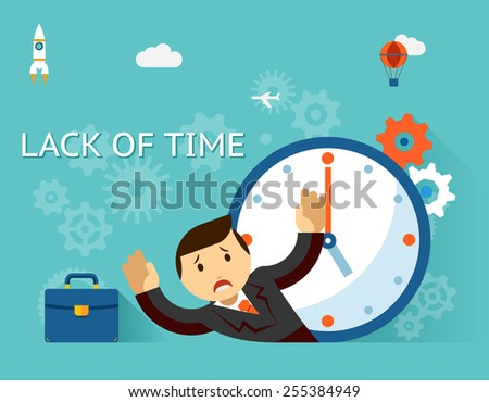 Time management. Lack of time concept. Businessman and clock. Clockwise, emotion and occupation. Vector illustration - stock vector