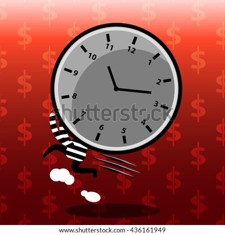 time management on red background cartoon concept of thief stealing time - stock vector