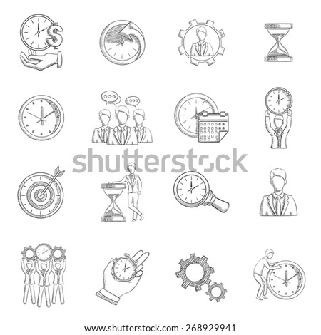 Time management sketch icons set with personal efficiency symbols isolated vector illustration - stock vector