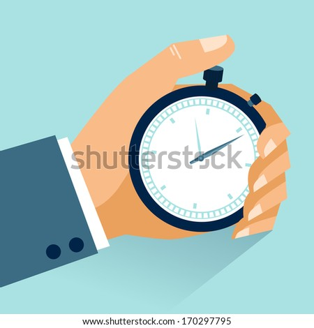 Time management. Vector modern illustration in flat style with male hand holding stopwatch - stock vector