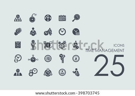 time management vector set of modern simple icons - stock vector