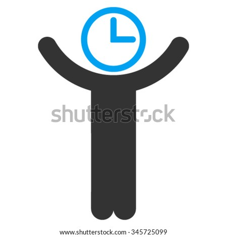 Time Manager vector icon. Style is bicolor flat symbol, blue and gray colors, rounded angles, white background. - stock vector